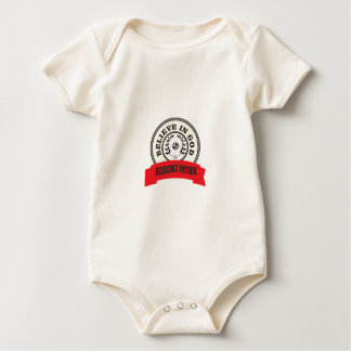 red believe in god baby bodysuit
