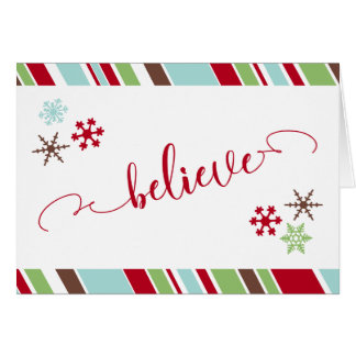 "Red ""Believe"" Script Snowflakes & Diagonal Stripes Card"