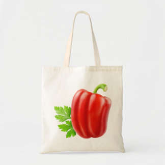 Red bell pepper budget tote bag