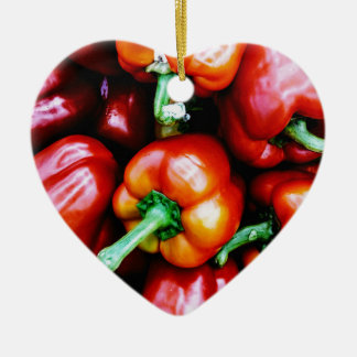 Red Bell Peppers Ceramic Heart Decoration