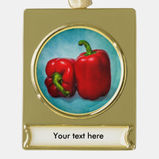 Red Bell Peppers Gold Plated Banner Ornament