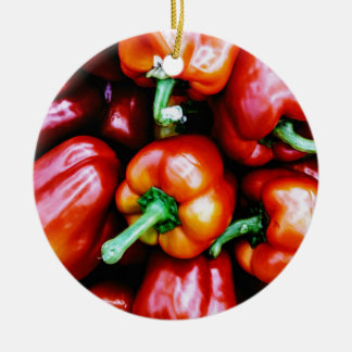 Red Bell Peppers Round Ceramic Decoration