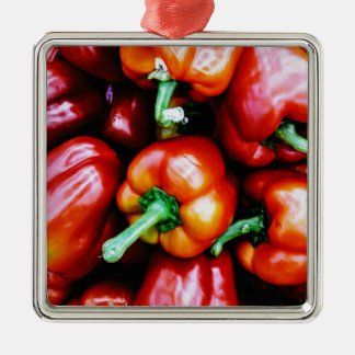 Red Bell Peppers Silver-Colored Square Decoration
