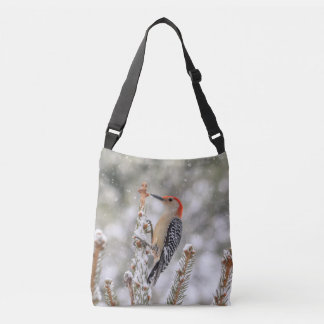Red-bellied Woodpecker in the snow Crossbody Bag