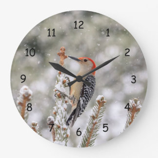 Red-bellied Woodpecker in the snow Large Clock