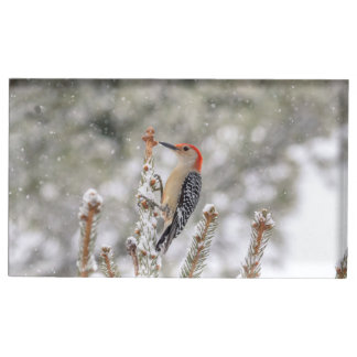 Red-bellied Woodpecker in the snow Table Number Holder