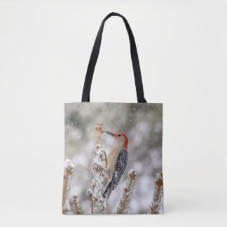 Red-bellied Woodpecker in the snow Tote Bag