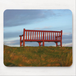 Red bench in a field mouse pad