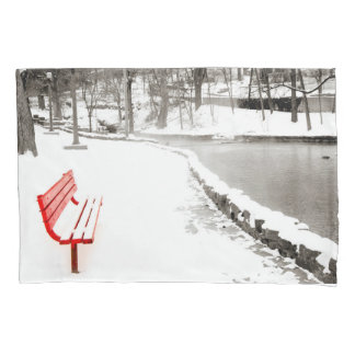 Red Bench in Snow Pillow Case