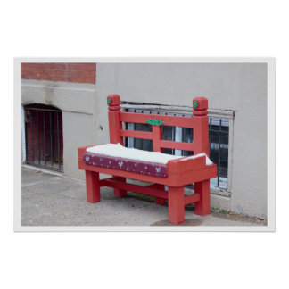Red Bench with Snow Poster