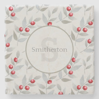 Red Berries and Gray Leaves Monogram Stone Stone Coaster