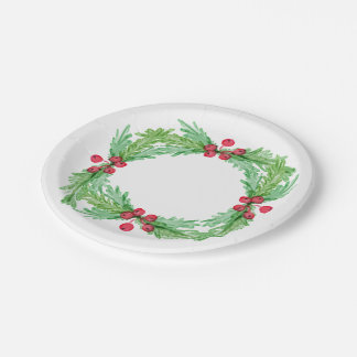Red Berries and Holly Leaves Paper Plate