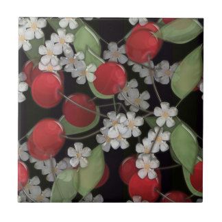Red berries ceramic tile