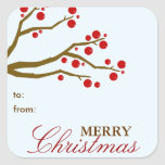 Red Berries Christmas Gift Tag Sticker