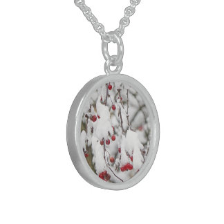 """RED BERRIES DANGLE FROM SNOW-COVERED STEMS"" STERLING SILVER NECKLACE"