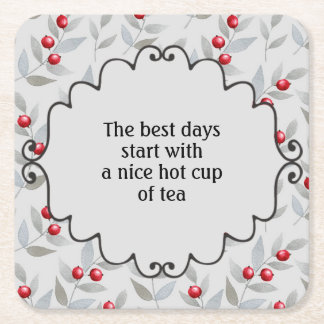 Red Berries Gray Leaves Cup of Tea Square Paper Coaster