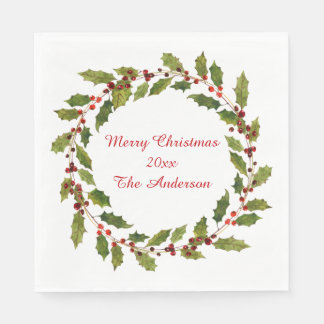 Red Berries Holly Leaves Merry Christmas Napkins Disposable Serviette