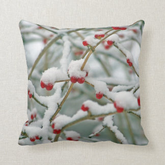Red Berries in the Snow winter scene Cushion