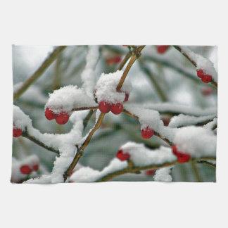 Red Berries in Winter Snow Tea Towel