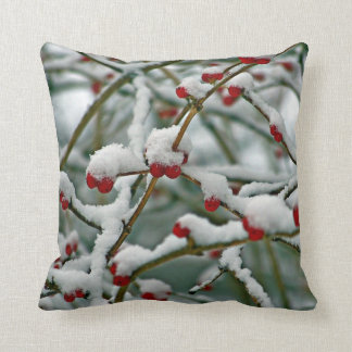 Red Berries in Winter Snow Throw Cushions