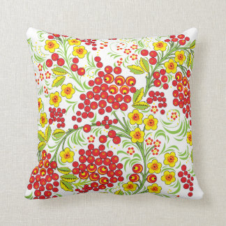 Red Berries Khokhloma Throw Pillow