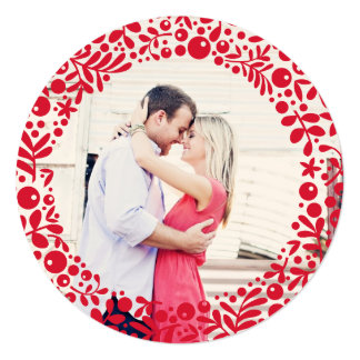 Red Berries Photo Frame Two-Sided Ornament Card