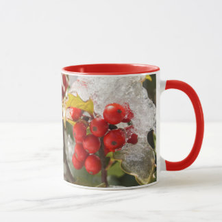 Red Berries Snow and Ice Christmas Holly Mug