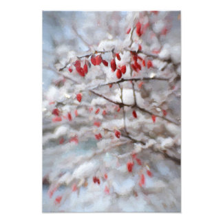 Red Berry Bush in Winter Painting Photo
