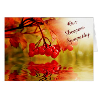 Red Berry Reflection Sympathy Greeting Card