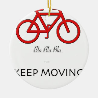 red bicycle quote round ceramic decoration