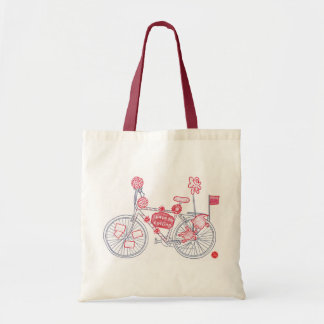 Red Bike & Red Strap Space for Cycling Tote Bag