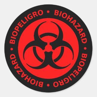 Red Bilingual Biohazard Warning Classic Round Sticker