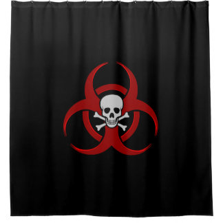Red Biohazard Skull and Crossbones Shower Curtain
