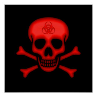 Red Biohazard Skull Poster
