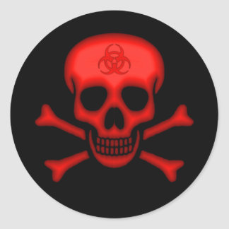 Red Biohazard Skull Sticker