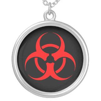 Red Biohazard Symbol Necklace