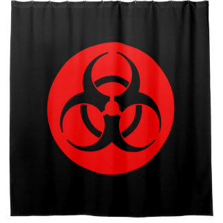 Red Biohazard Symbol Shower Curtain
