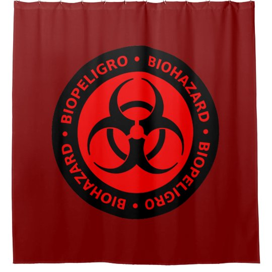 Red Biohazard Warning Sign Shower Curtain