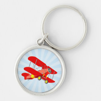 Red Biplane Graphic with Blue Star Burst Key Chains