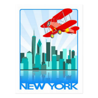 Red Biplane Over New York Retro Design Postcard