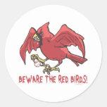 Red Bird Baseball by Mudge Studios Round Stickers