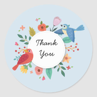 Red Bird Blue Bird Circle of Flowers Classic Round Sticker