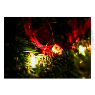 Red Bird Christmas Ornament & Glowing Lights Card