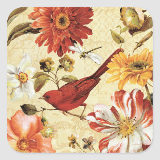 Red Bird in a Flower Garden Square Sticker