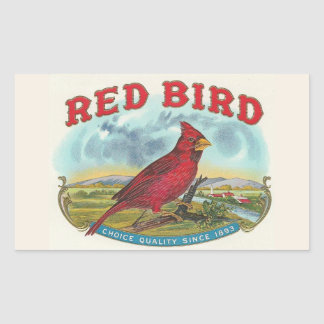 Red Bird Rectangular Sticker
