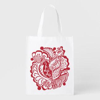 Red Bird Reusable Grocery Bag