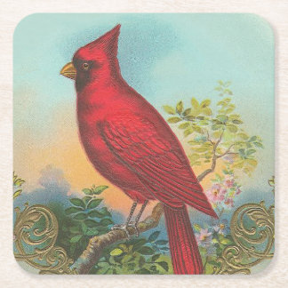 Red Bird Square Paper Coaster