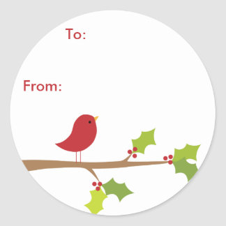 Red Bird Sticker Gift Tags