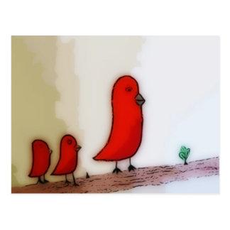 Red Bird With Babies Art Postcard