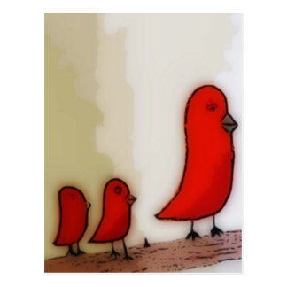 Red Bird With Babies Art Postcards